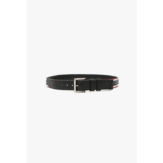 BALMAIN MEN STRIPED LEATHER BELT