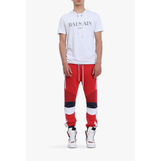 BALMAIN MEN RED BIKER COTTON JERSEY SWEATPANTS