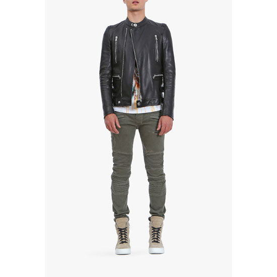 BALMAIN MEN DESTROY STRETCH COTTON DENIM BIKER JEANS
