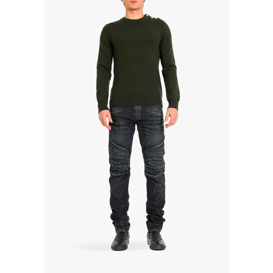 BALMAIN MEN STRAIGHT CUT RIBBED BIKER JEANS