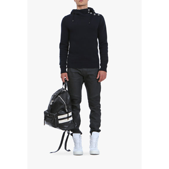 BALMAIN MEN RIBBED STRETCH COTTON SWETPANTS