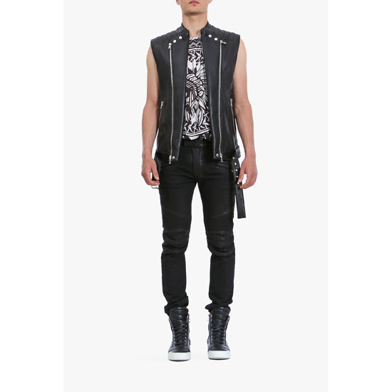 BALMAIN MEN SLIM FIT WAXED DENIM BIKER JEANS