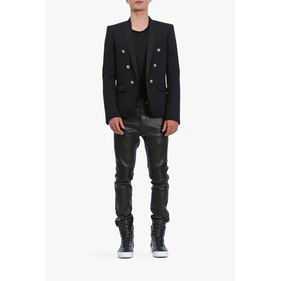 BALMAIN MEN SLIM-FIT LEATHER SWEATPANTS