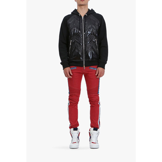 BALMAIN MEN SLIM FIT CONTRASTED DENIM BIKER JEANS