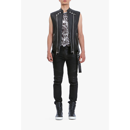 BALMAIN MEN SLEEVELESS LEATHER BIKER JACKET