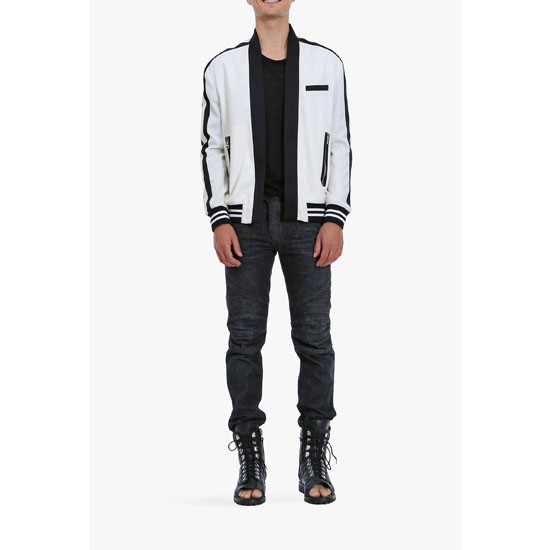 BALMAIN MEN WOOL BOMBER JACKET WITH SHAWL COLLAR