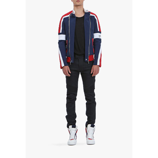 BALMAIN MEN COTTON BIKER SWEATSHIRT