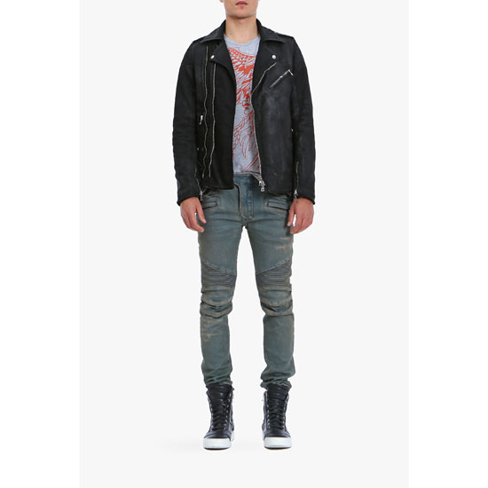 BALMAIN MEN WAXED COTTON BIKER JACKET