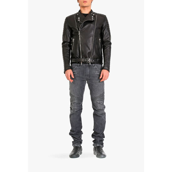 BALMAIN MEN QUILTED LEATHER BIKER JACKET