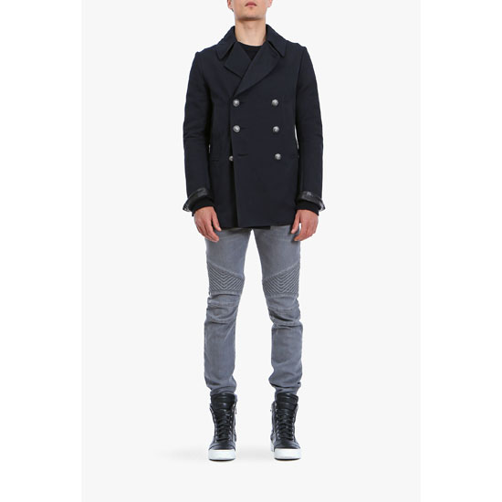 BALMAIN MEN DOUBLE-BREASTED COTTON PEACOAT