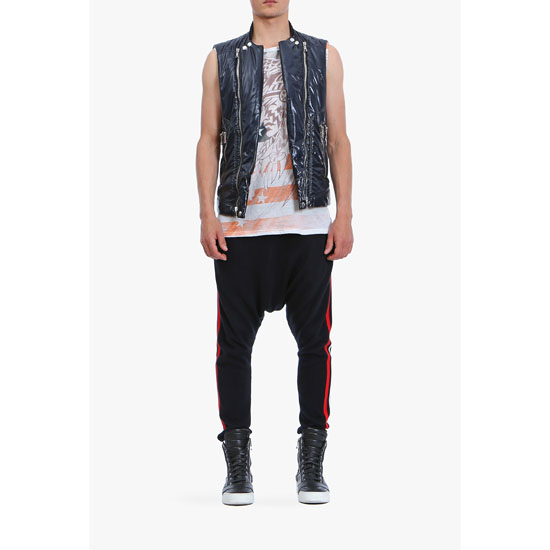 BALMAIN MEN SHINY NYLON SLEEVELESS DOWN-JACKET