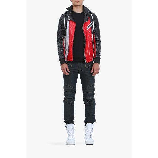 BALMAIN MEN SHINY NYLON HOODED DOWN-JACKET
