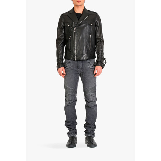 BALMAIN MEN LEATHER BIKER JACKET