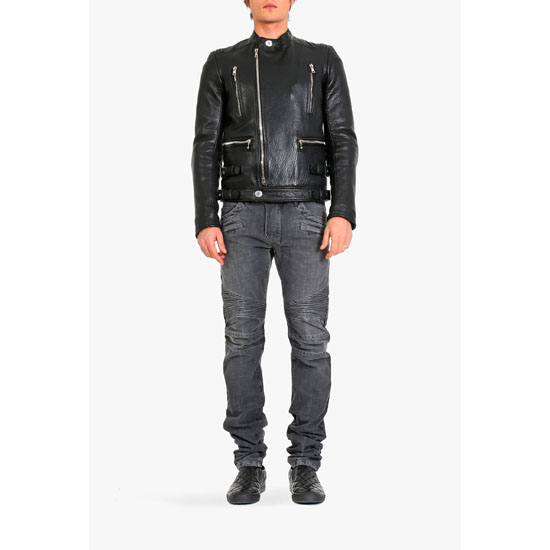 BALMAIN MEN ASYMMETRIC ZIPPER LEATHER JACKET