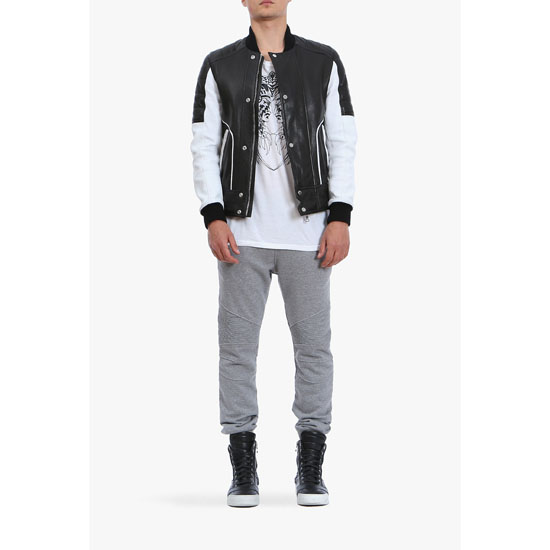 BALMAIN MEN QUILTED LEATHER BOMBER JACKET