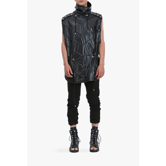 BALMAIN MEN PONCHO-INSPIRED SLEEVELESS STRIPED LEATHER JACKET
