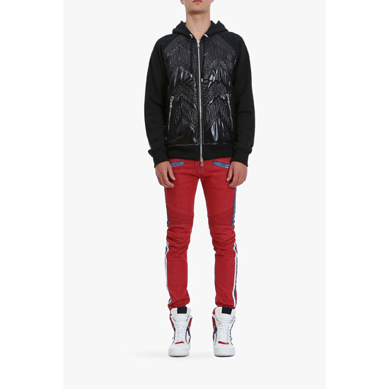 BALMAIN MEN HOODED PADDED NYLON AND COTTON SWEATER