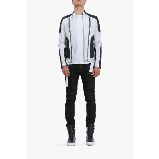 BALMAIN MEN CONTRASTED COTTON BIKER JACKET