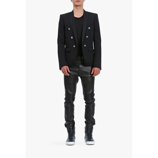 BALMAIN MEN DOUBLE-BREASTED WOOL-TWILL BLAZER