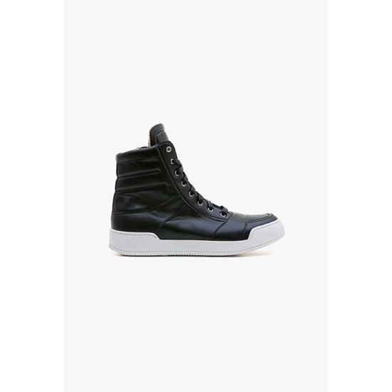 BALMAIN MEN PERFORATED LEATHER HIGH-TOP SNEAKERS