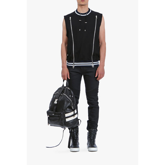BALMAIN MEN COTTON-JERSEY SLEEVELESS SWEATER