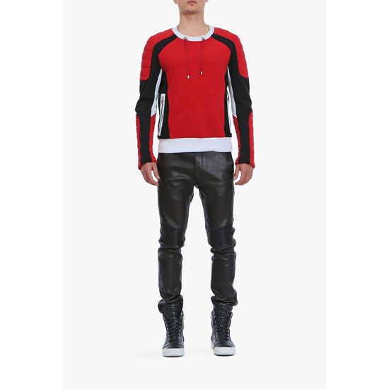 BALMAIN MEN PANELLED COTTON BIKER SWEATSHIRT