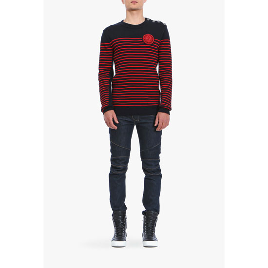 BALMAIN MEN BUTTON-EMBELLISHED STRIPED COTTON SWEATER WITH BADGE