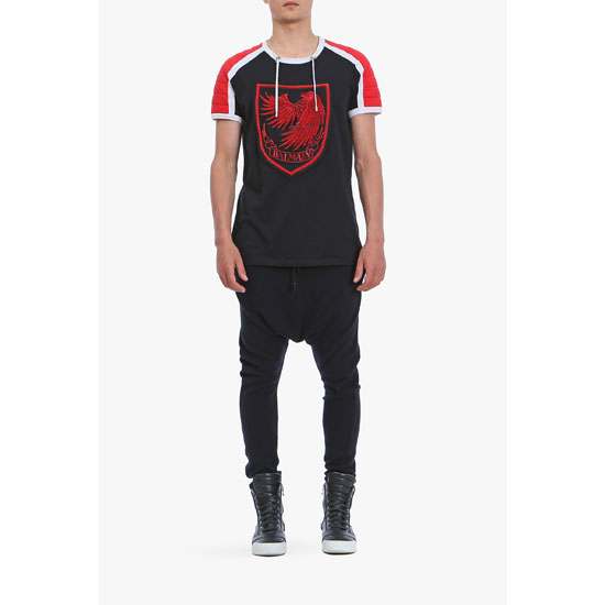BALMAIN MEN COTTON-JERSEY SHORT-SLEEVED T-SHIRT WITH BADGE