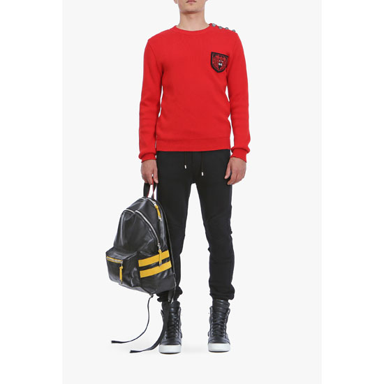 BALMAIN MEN BUTTON-EMBELLISHED COTTON SWEATER WITH BADGE