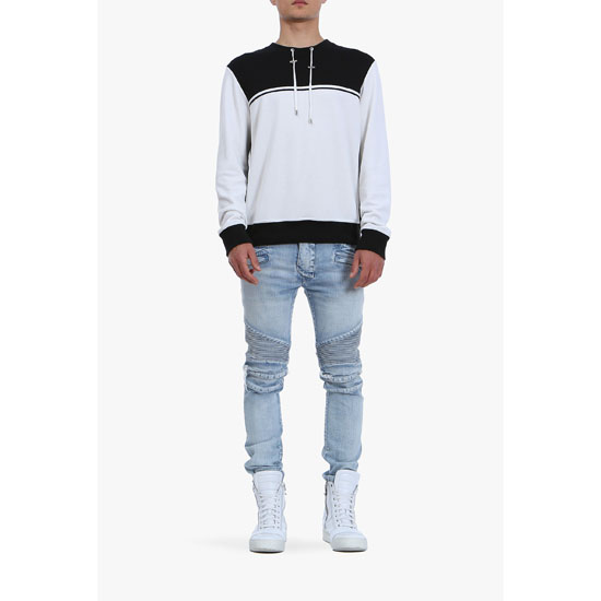 BALMAIN MEN CONTRASTED COTTON-JERSEY SWEATSHIRT