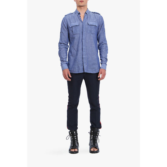 BALMAIN MEN MILITARY COTTON SHIRT
