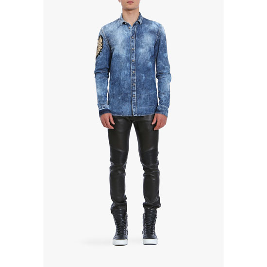 BALMAIN MEN WASHED COTTON-DENIM SHIRT