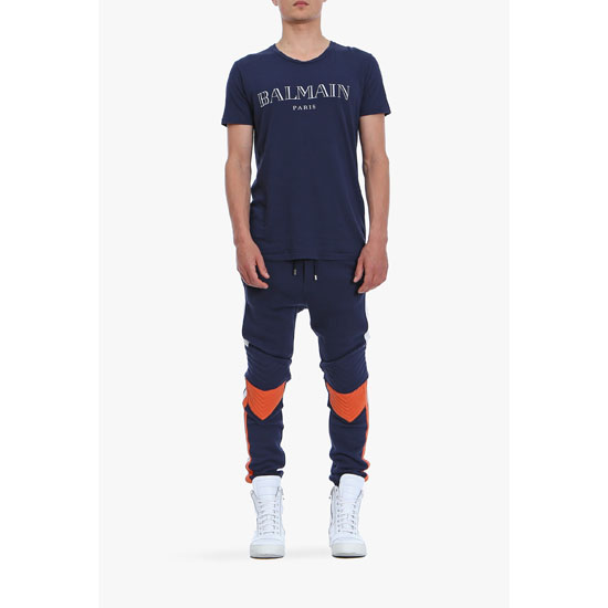BALMAIN MEN LOGO PRINTED SHORT-SLEEVED COTTON-JERSEY T-SHIRT