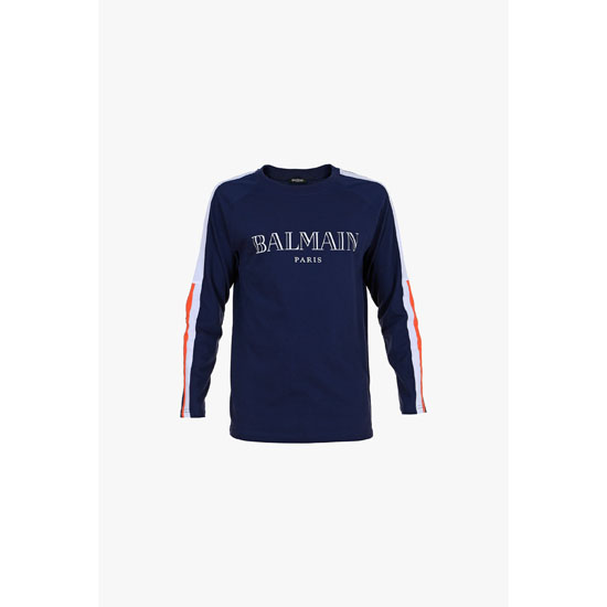 BALMAIN MEN LOGO PRINTED LONG-SLEEVED COTTON T-SHIRT