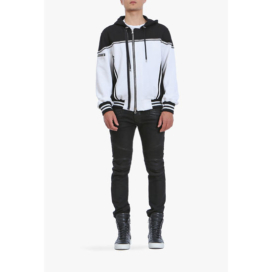 BALMAIN MEN CONTRASTED COTTON-JERSEY BOMBER-INSPIRED HOODIE