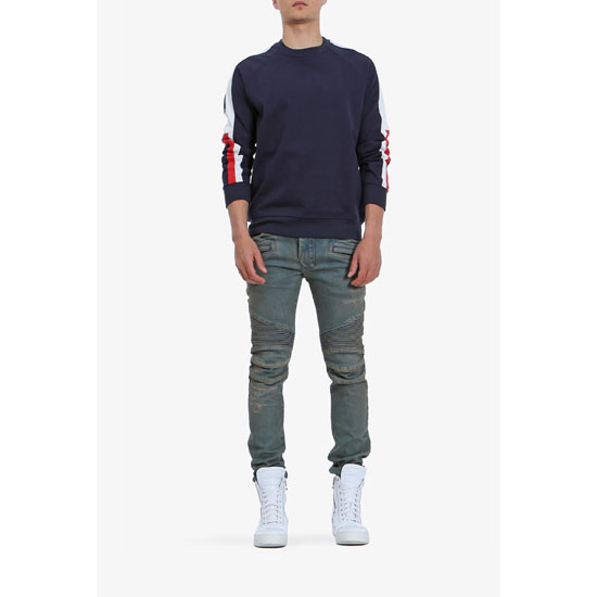 BALMAIN MEN STRIPED COTTON SWEATSHIRT