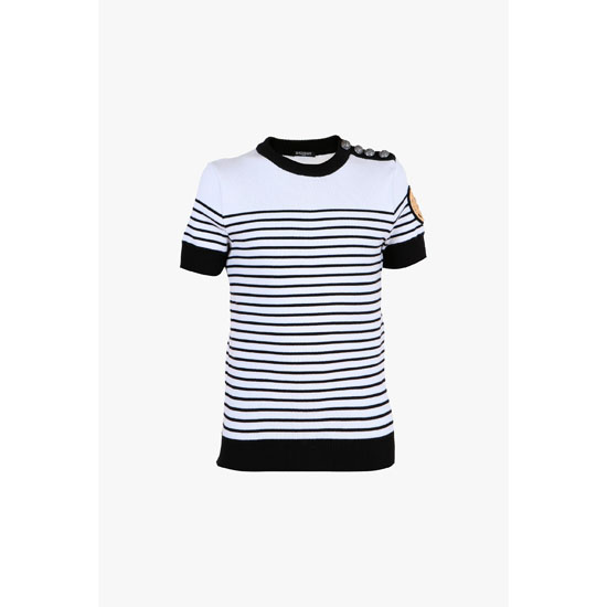 BALMAIN MEN STRIPED COTTON SHORT-SLEEVED SWEATER