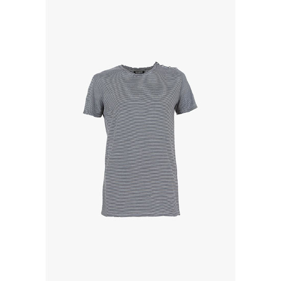 BALMAIN MEN BUTTON-EMBELLISHED STRIPED COTTON-JERSEY T-SHIRT