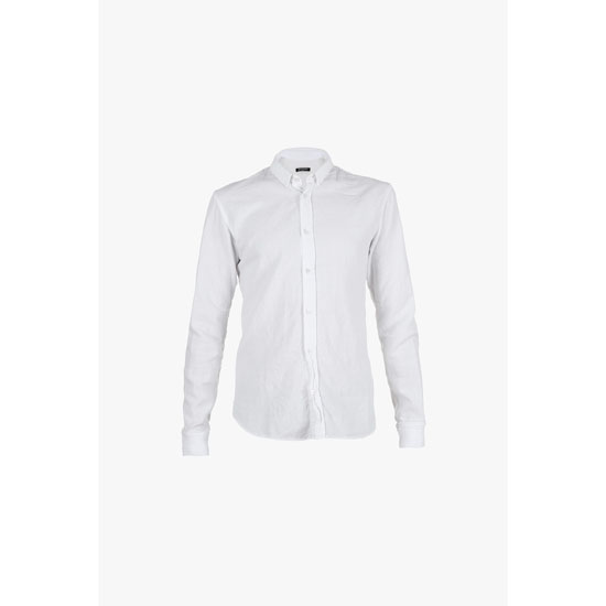 BALMAIN MEN RIBBED EDGE VINTAGE COTTON SHIRT