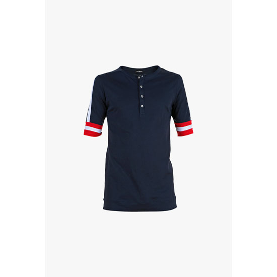 BALMAIN MEN COTTON SHORT-SLEEVED HENLEY T-SHIRT