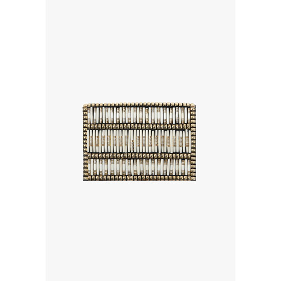 BALMAIN WOMEN BEADED LEATHER CLUTCH