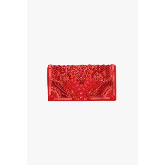 BALMAIN WOMEN EMBROIDERED LEATHER CLUTCH