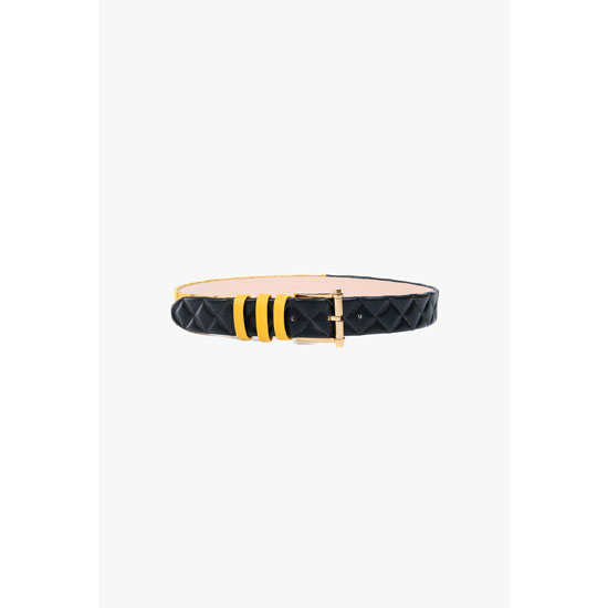 BALMAIN WOMEN CONTRASTED QUILTED LEATHER BELT