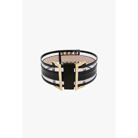 BALMAIN WOMEN HIGH-WAISTED LEATHER BELT WITH TRANSPARENT DETAILS