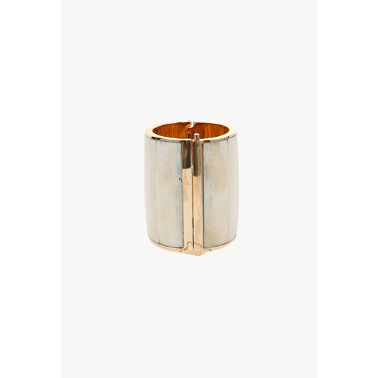 BALMAIN WOMEN GOLD-COLOURED METAL AND BONES CUFFS