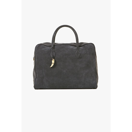 BALMAIN WOMEN GREY SUEDE PIERRE WEEK-END BAG
