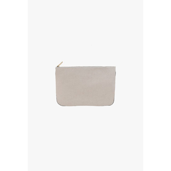 BALMAIN WOMEN OFF-WHITE FABRIC PIERRE MINI-CLUTCH