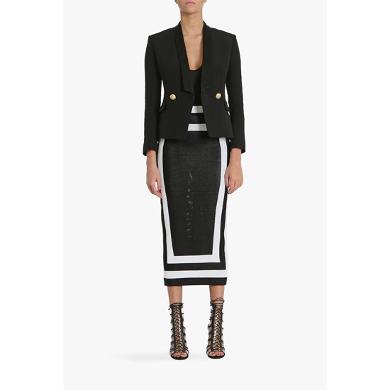 BALMAIN WOMEN TWO TONE HIGH-WAISTED VISCOSE KNIT PENCIL SKIRT