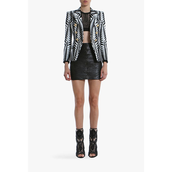 BALMAIN WOMEN RIBBED GEOMETRIC LEATHER MINI-SKIRT