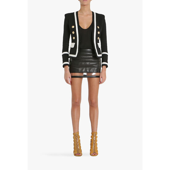 BALMAIN WOMEN SATIN LAMBSKIN MINI SKIRT WITH TRANSPARENT STRIPE